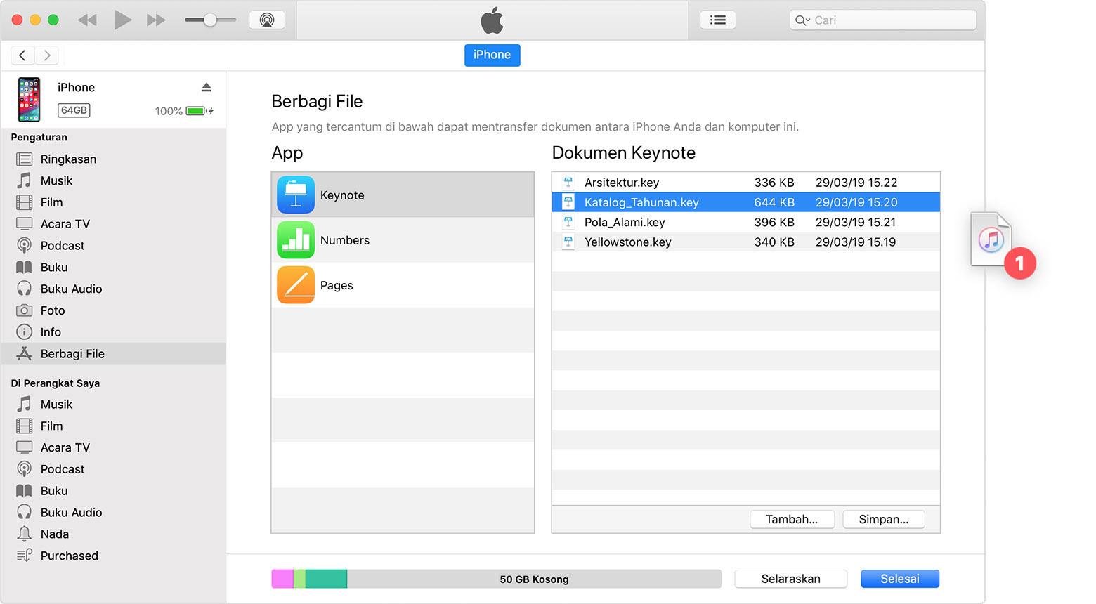 Menggunakan iTunes untuk berbagi file di antara komputer dan