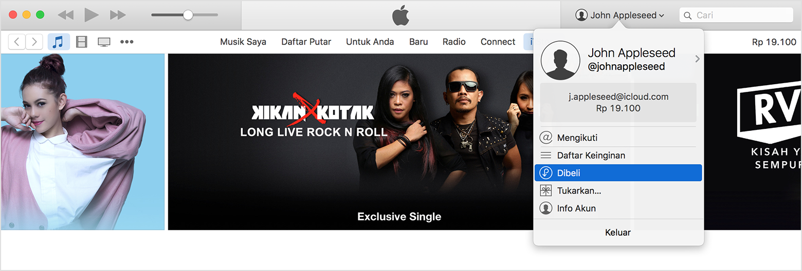 menu dibeli iTunes