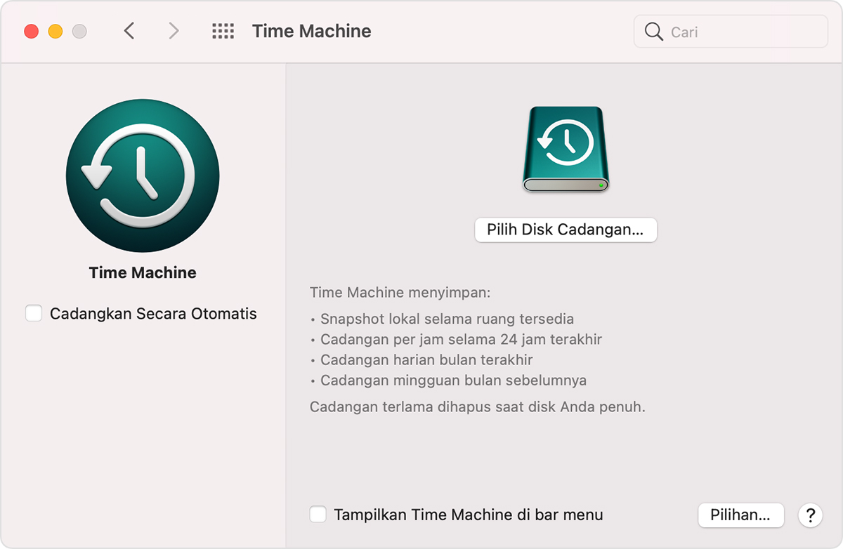 Jendela Time Machine Preferensi Sistem macOS