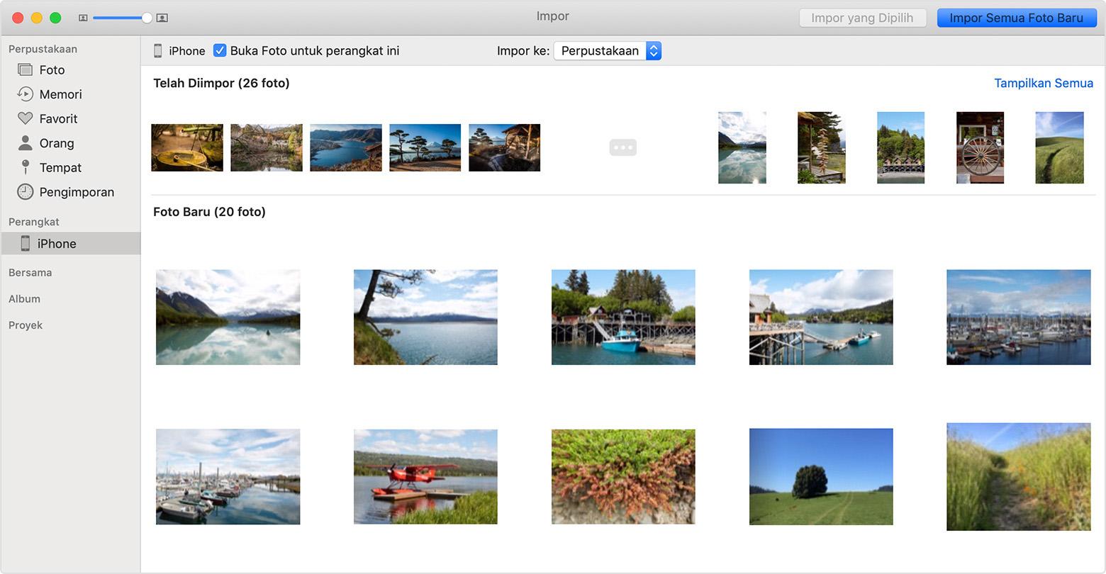Mentransfer foto dan video dari iPhone, iPad, atau iPod