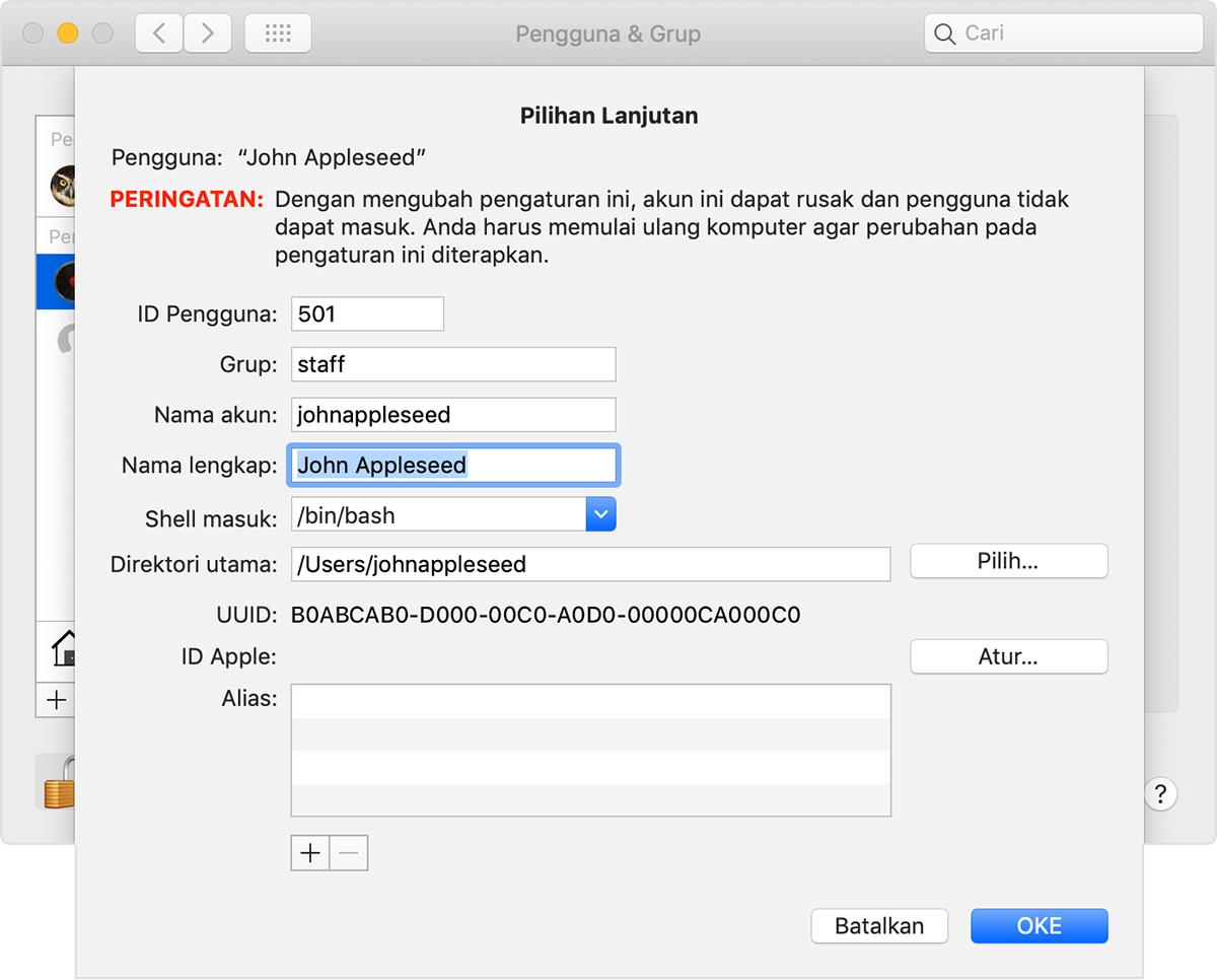 Mengubah nama akun pengguna macOS dan folder beranda - Apple Support