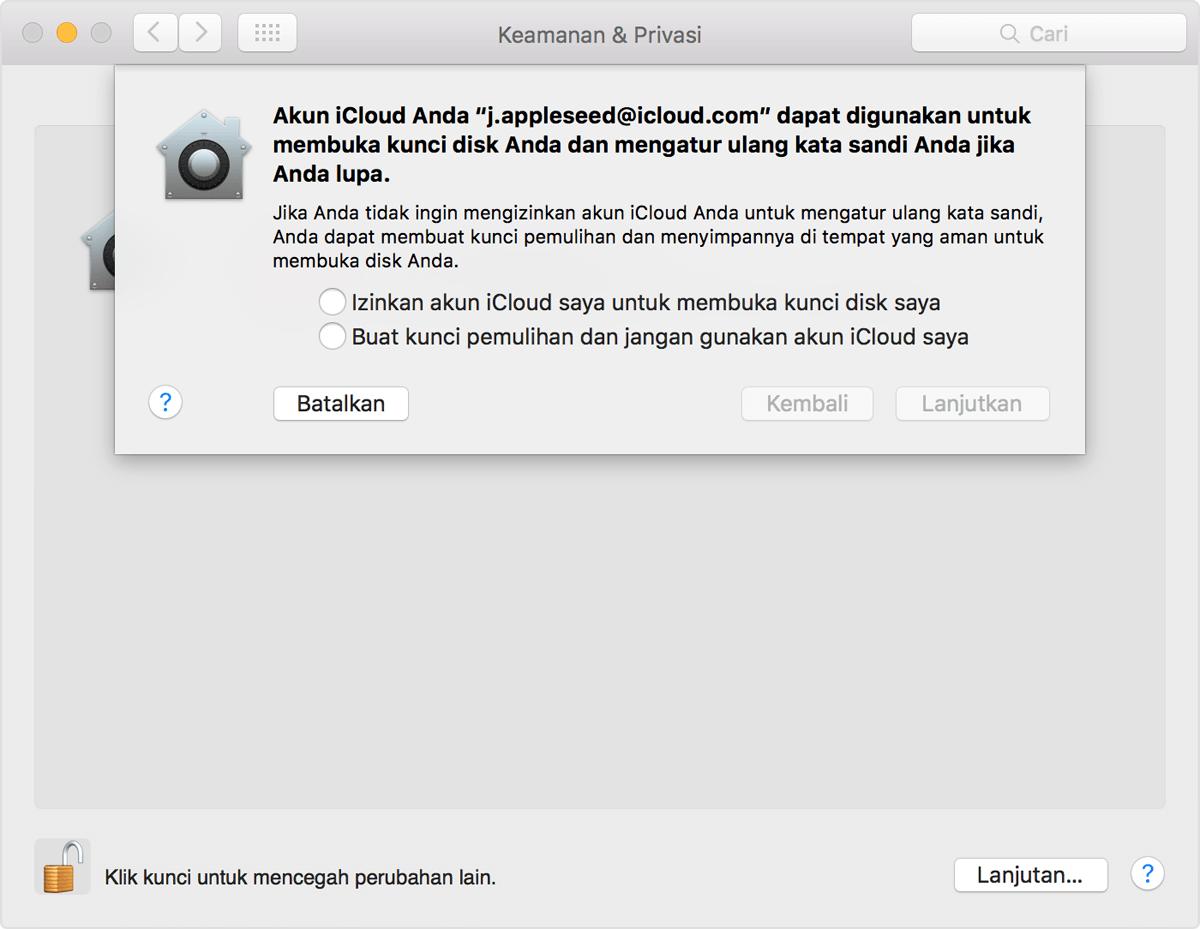 Menggunakan FileVault untuk mengenkripsi disk pengaktifan di