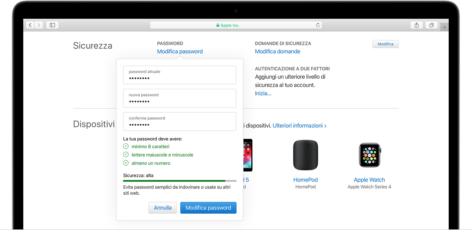 La schermata Cambia password su Mac
