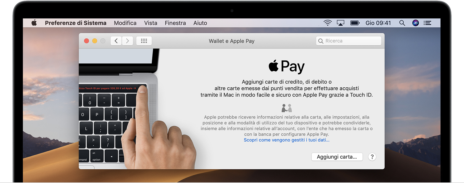 Aggiungere una carta a Apple Pay su Mac