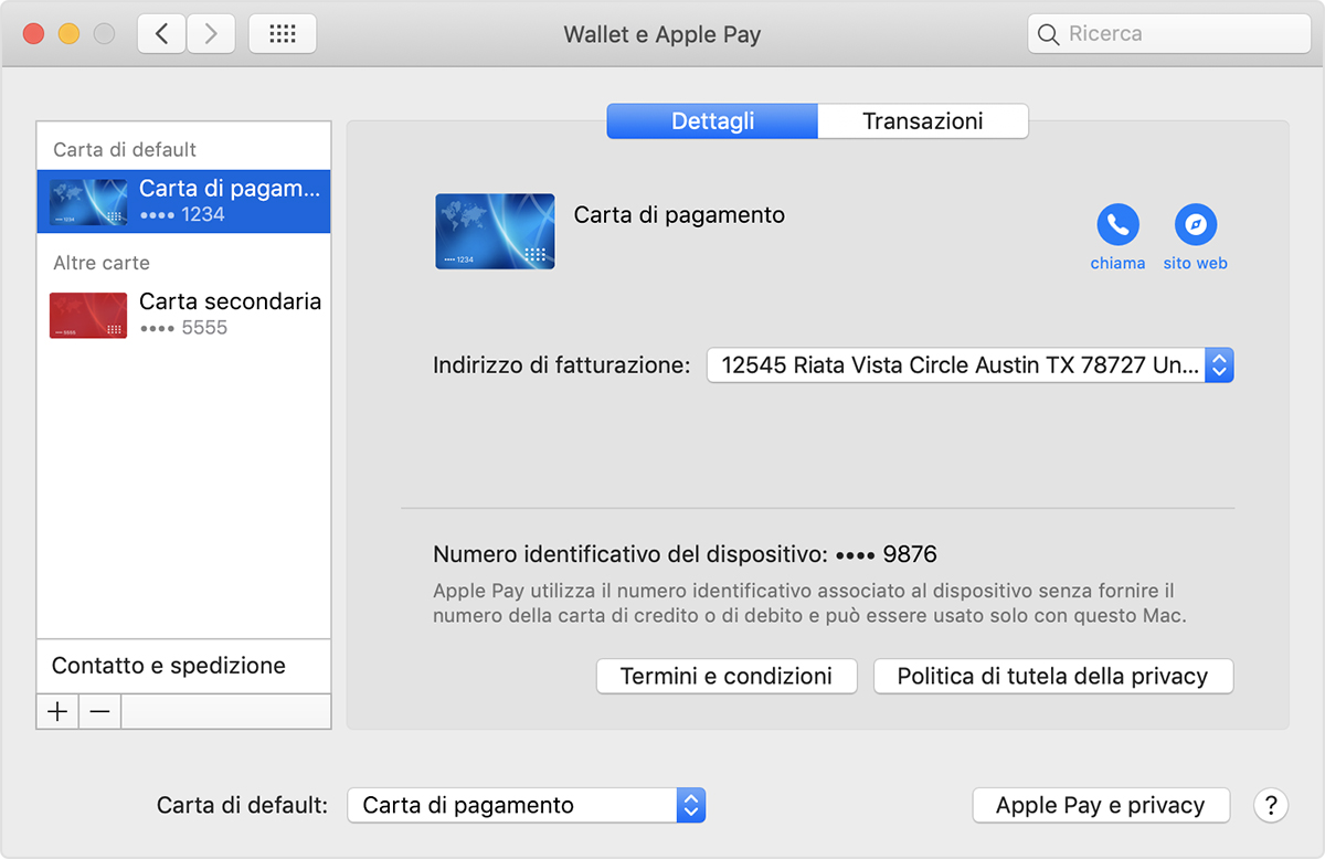 Carta predefinita per Apple Pay sui modelli di Mac