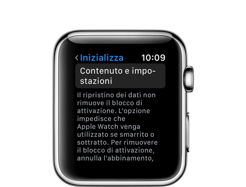 Inizializzazione di tutti i contenuti e di tutte le impostazioni dall'Apple Watch