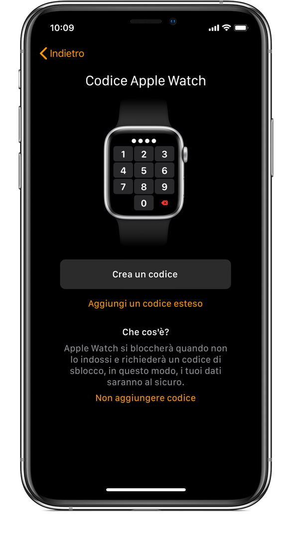 Schermata del codice Apple Watch su iPhone