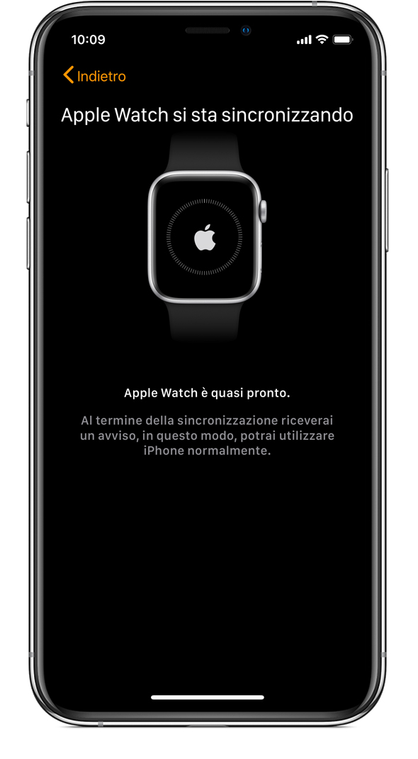 Schermata Apple Watch si sta sincronizzando su iPhone