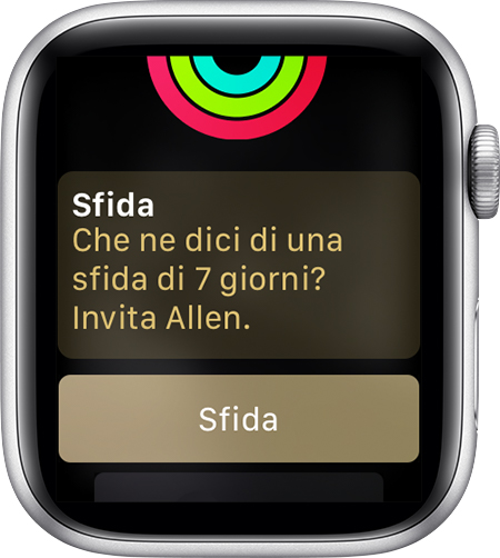 Messaggio da Apple Watch per invitare Allen a una sfida.