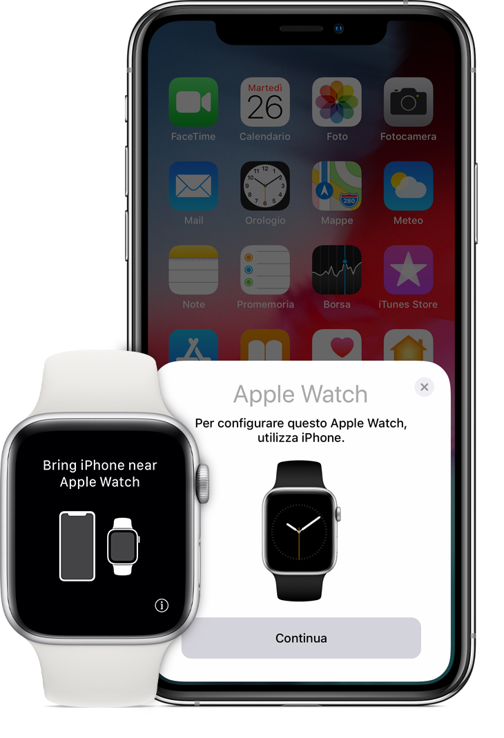 "Messaggio ""Avvicina iPhone ad Apple Watch"" sull'orologio"