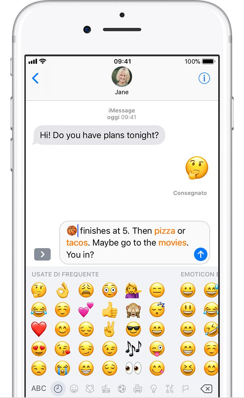 Très Uso delle emoji sull'iPhone, sull'iPad o sull'iPod touch  CP19