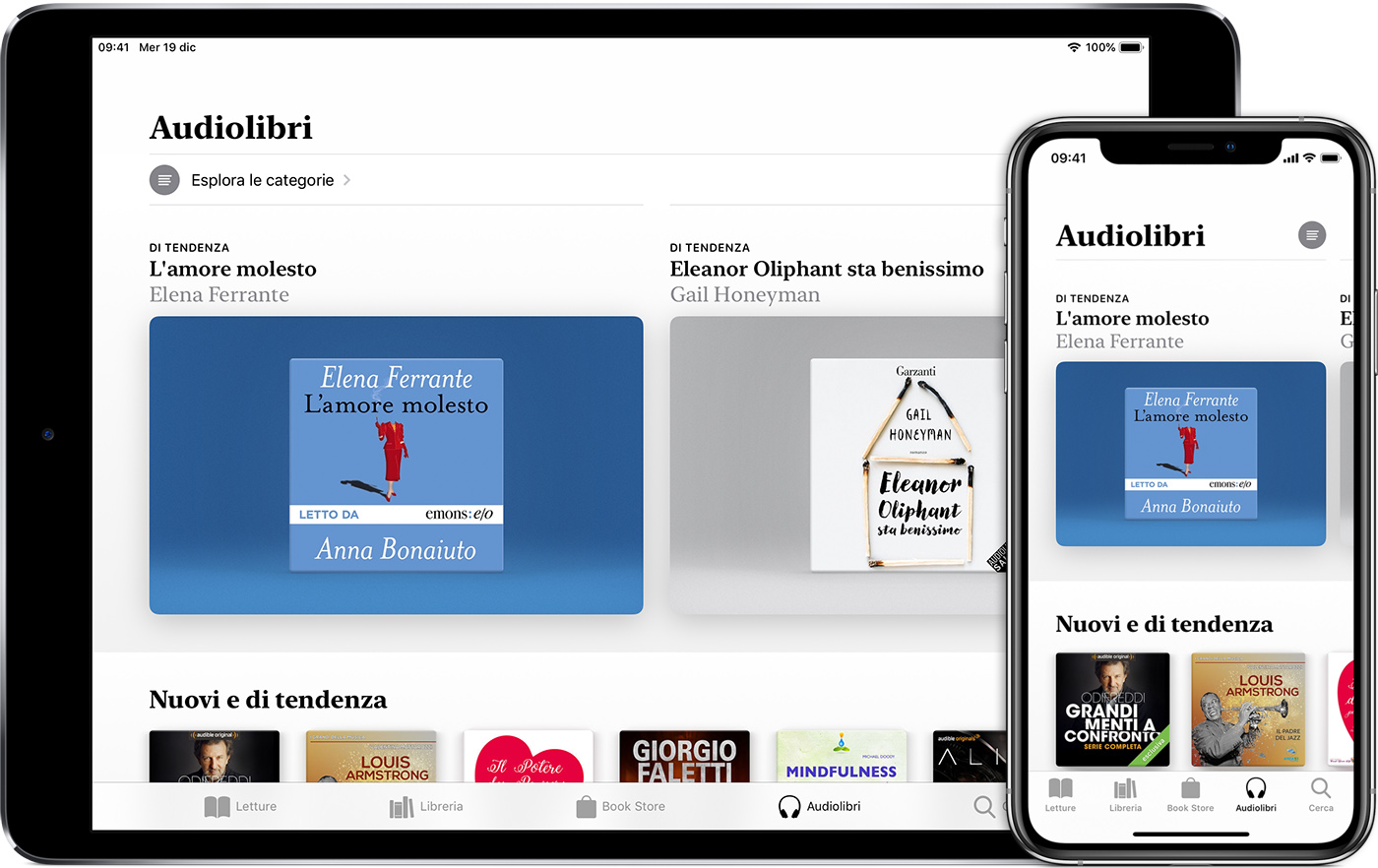 iPad e iPhone con la schermata Audiolibri in Apple Books visualizzata