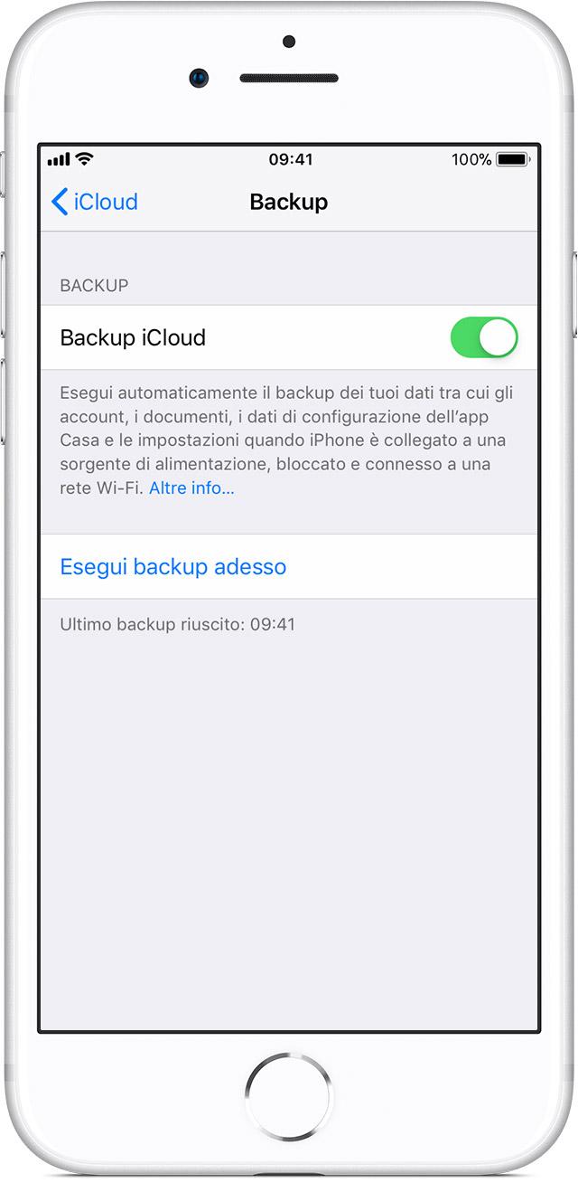 Schermata Backup nelle impostazioni di iCloud