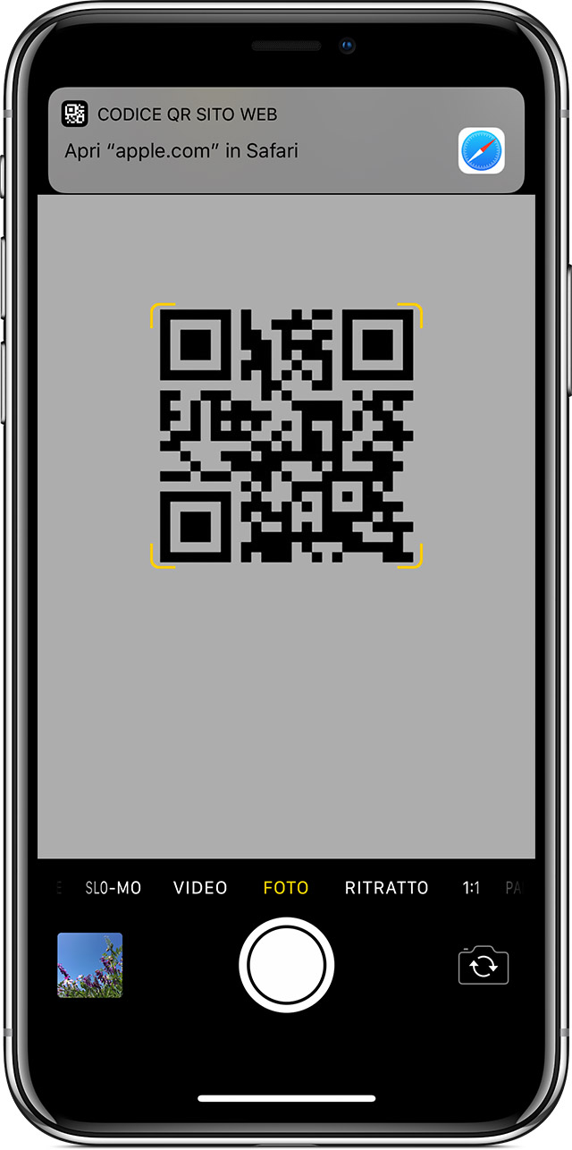 scansione di un codice QR su iPhone