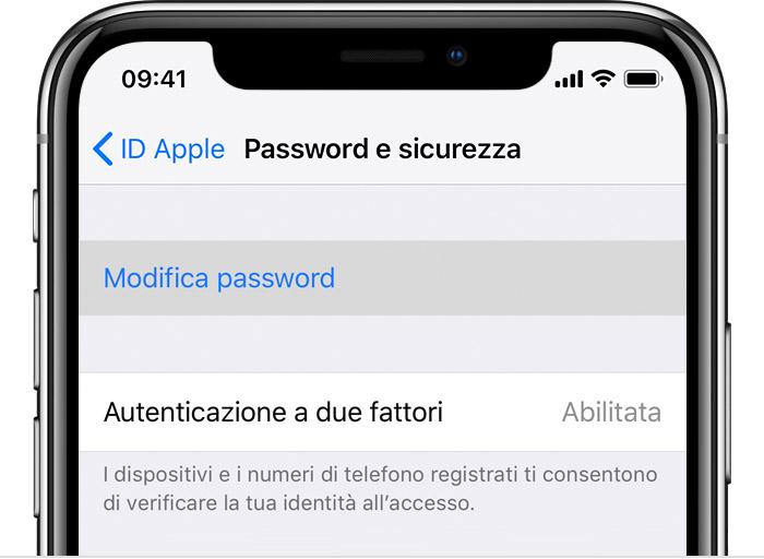 Reimpostare la password