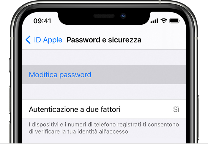 La schermata Modifica password su iPhone