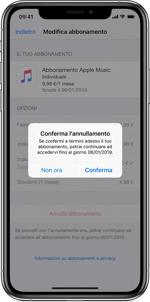 iPhone X con la schermata relativa all'abbonamento a Apple Music e la finestra di dialogo di conferma dell'annullamento visualizzate