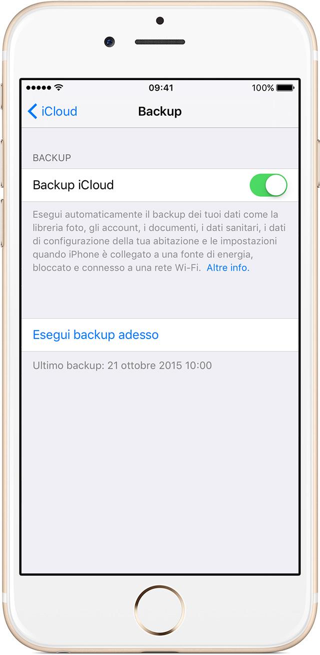 L'opzione Backup iCloud deve essere attiva.