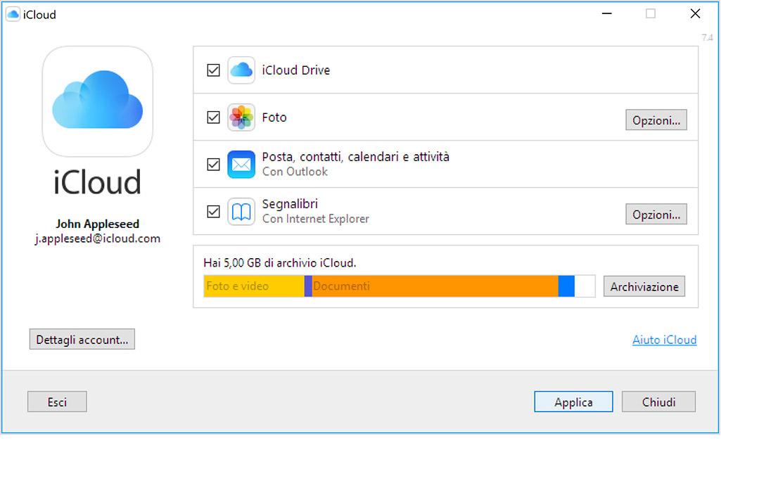 pannello di controllo icloud per windows xp