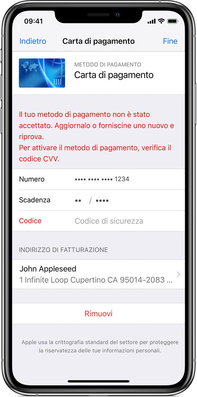 Se Il Tuo Metodo Di Pagamento Viene Rifiutato Nell App Store O Nell Itunes Store Supporto Apple