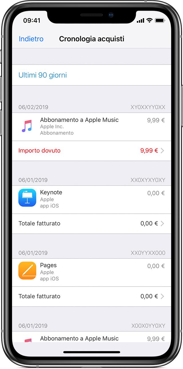 vedere cronologia acquisti iphone