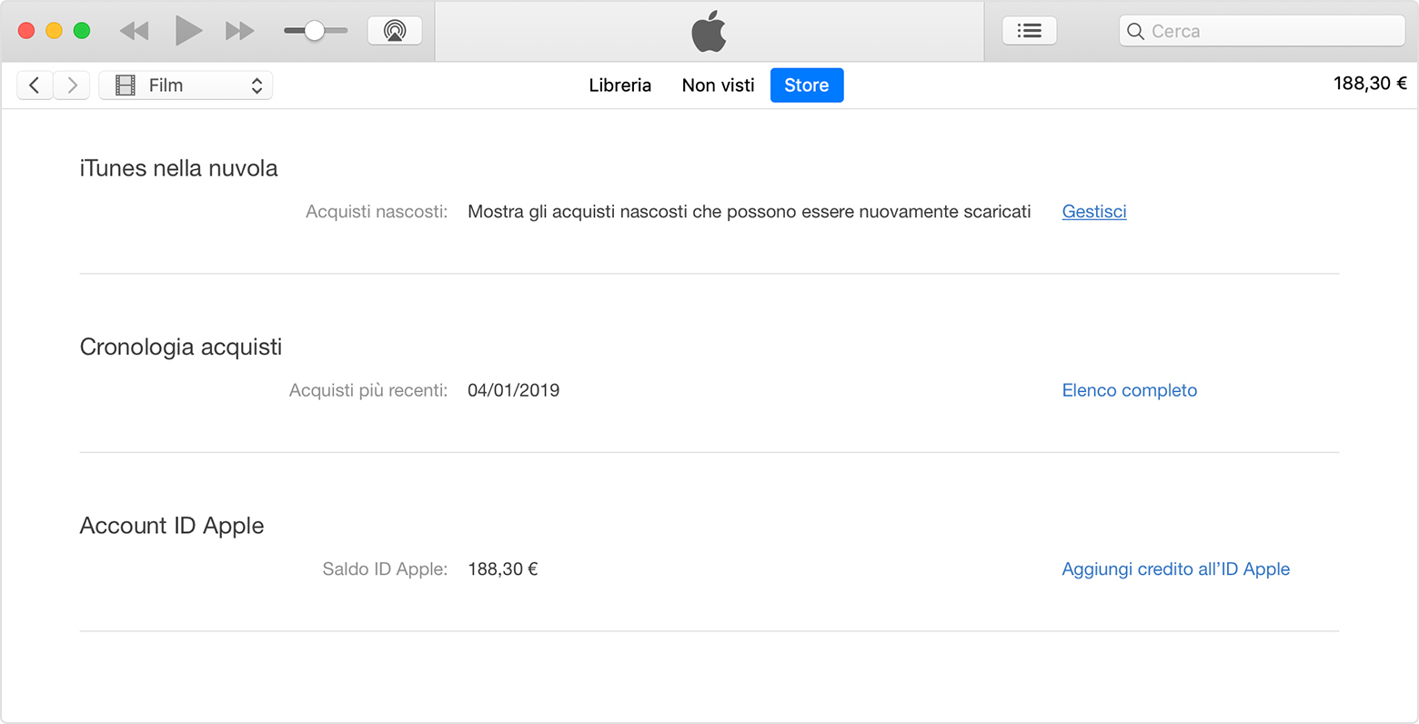 Pagina Informazioni account in iTunes.