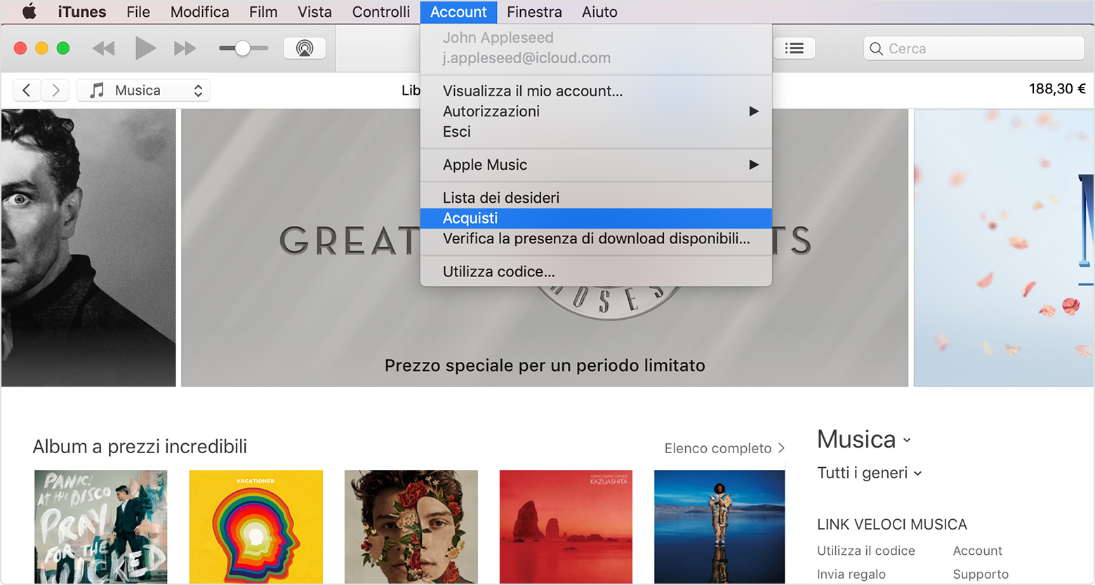 Menu a discesa Account in iTunes con l'opzione Acquistati evidenziata; una finestra di iTunes Store aperta in background