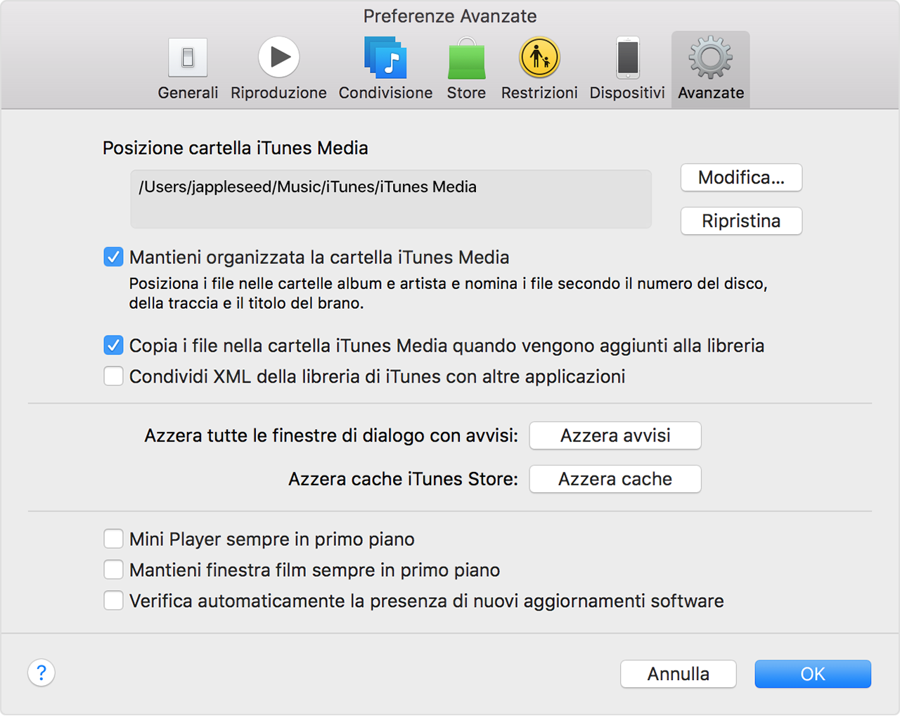 Preferenze avanzate di iTunes