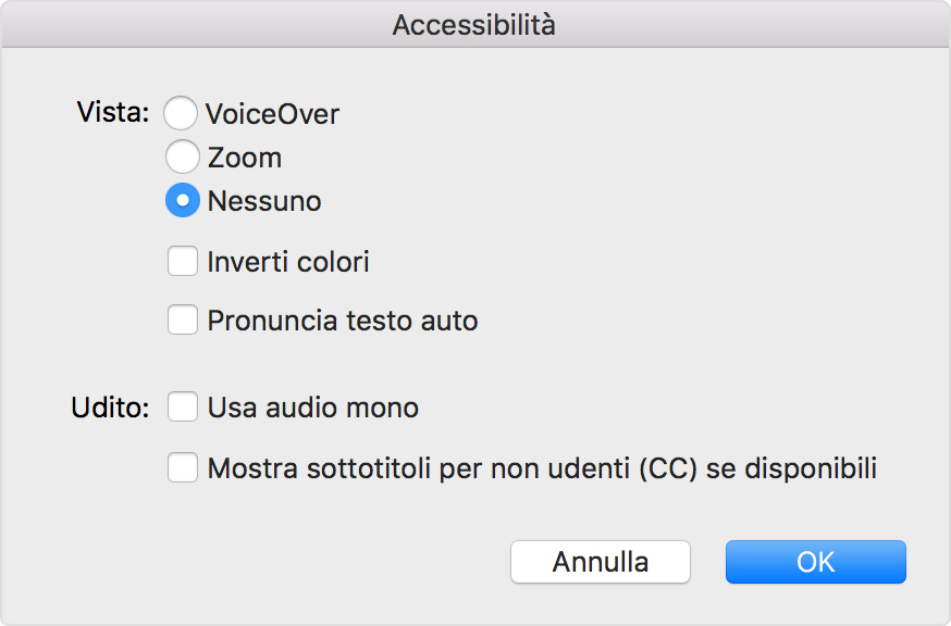 Preferenze di iTunes per disattivare Zoom