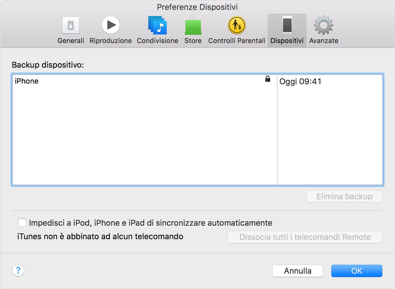 In iTunes, fai clic su Preferenze, quindi scegli Dispositivi.