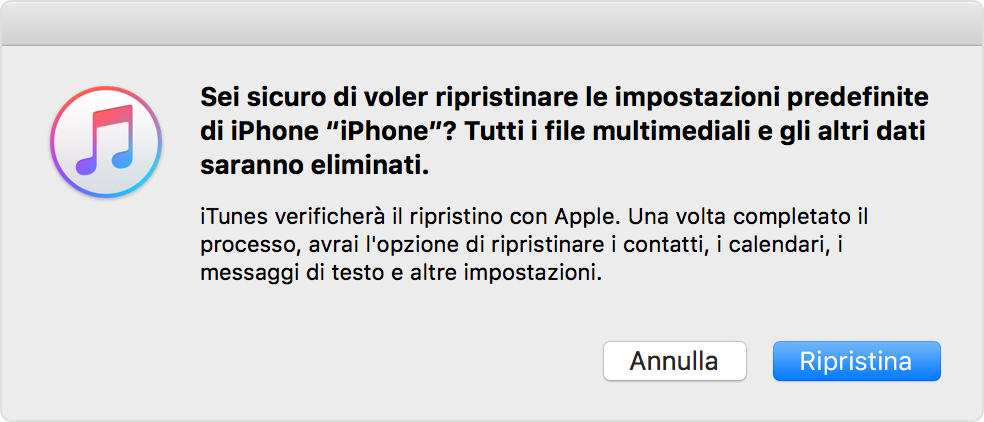 Ripristino di iPhone in iTunes