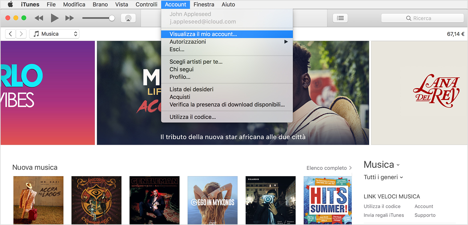 Visualizza il mio account in iTunes