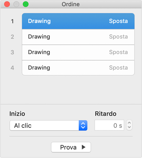 inspector Ordine in Keynote per Mac