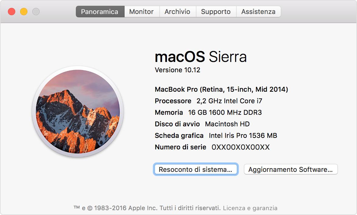 Informazioni Sull App Informazioni Di Sistema Sul Mac