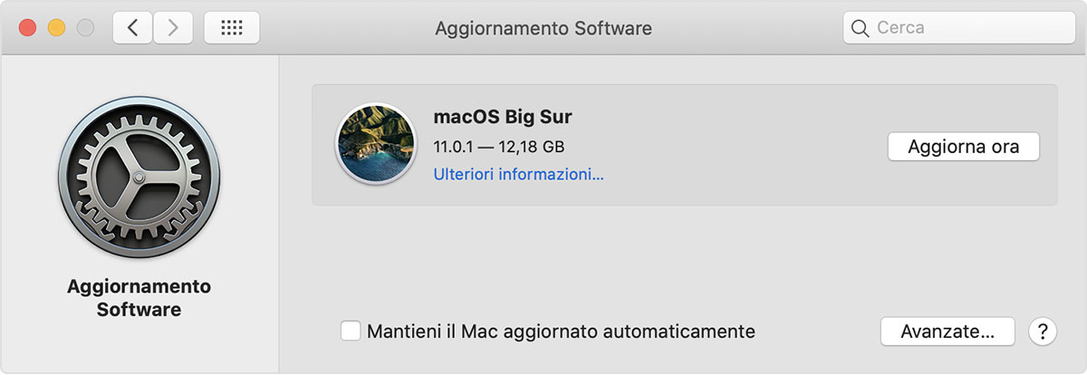 Preferenze di Aggiornamento Software