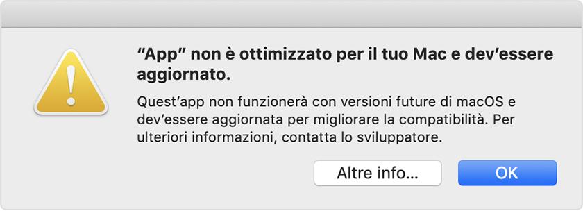Compatibilità di app a 32 bit con macOS High Sierra 10 13 4 e