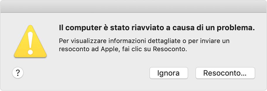 Se il Mac si riavvia a causa di un problema - Supporto Apple