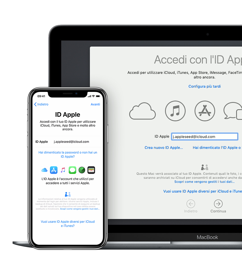 Mac e iPhone che mostrano la schermata di accesso all'ID Apple