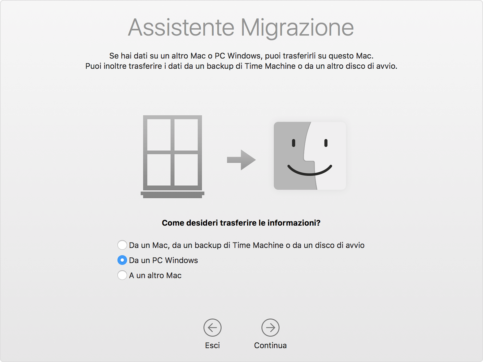 assistente migrazione per windows