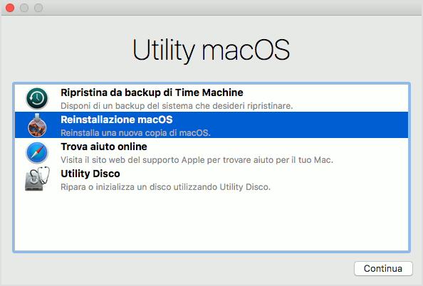 Guida installazione del sistema operativo Mac