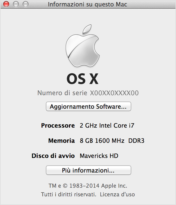 Finestra Informazioni su questo Mac di Mavericks