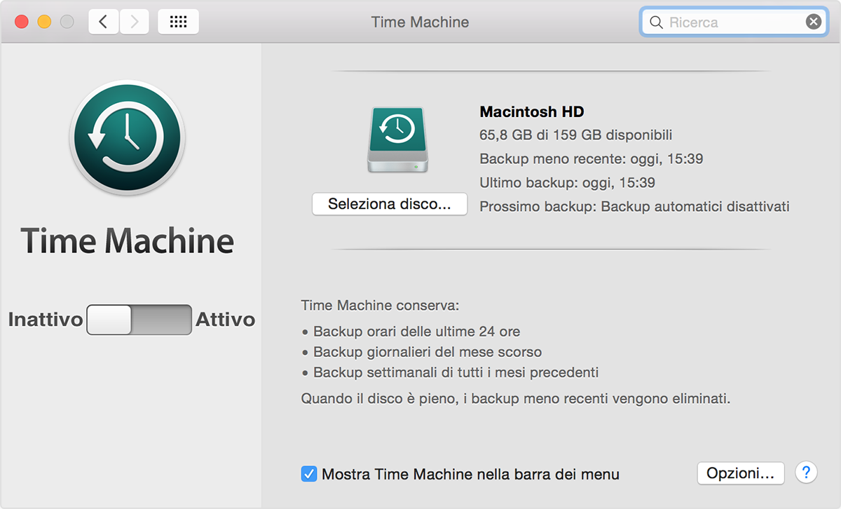 Preferenze di Time Machine