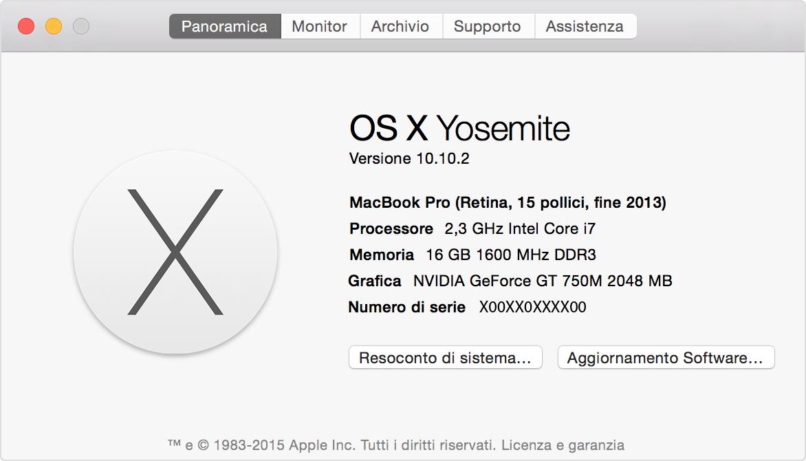 Finestra Informazioni su questo Mac di Yosemite