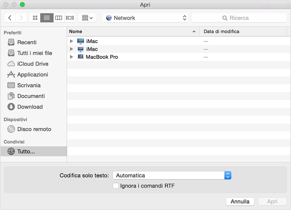 condivisione dati mac windows