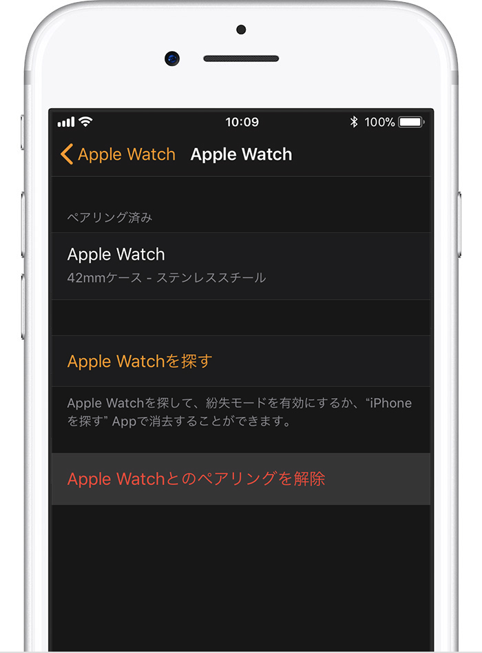 iPhone の「Apple Watch」画面