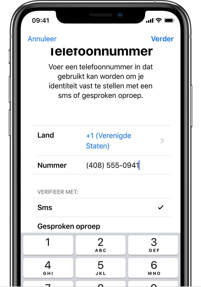 Nieuwe verificatiecode voor iphone