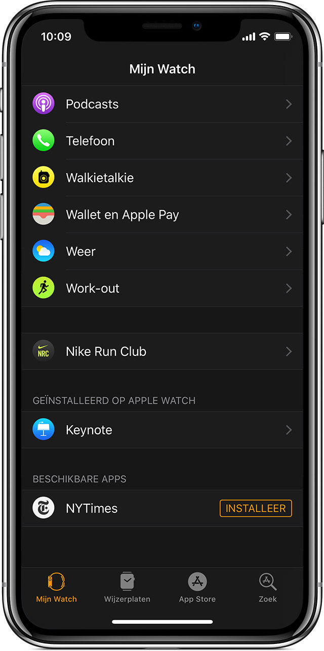 Beschikbare apps in de Apple Watch-app