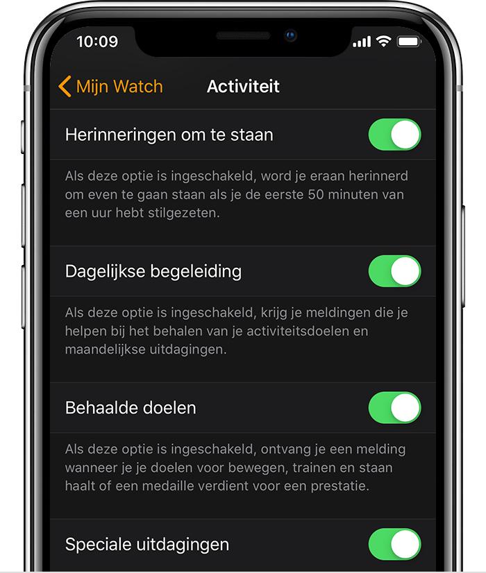Instellingen voor Activiteit in de Watch-app op de iPhone.