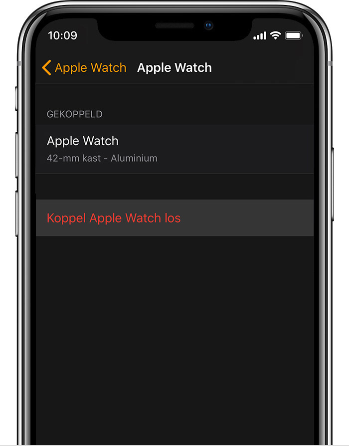Apple Watch-scherm op iPhone met details over Johns aluminium Apple Watch.