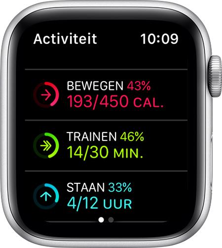 Doelen voor bewegen, trainen en staan op de AppleWatch.
